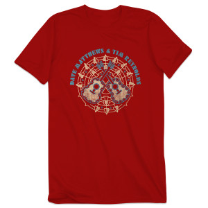 Dave & Tim Crossed Guitars Men's Tee Red
