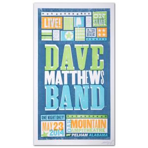 DMB Show Poster - Pelham, AL 5/23/2014