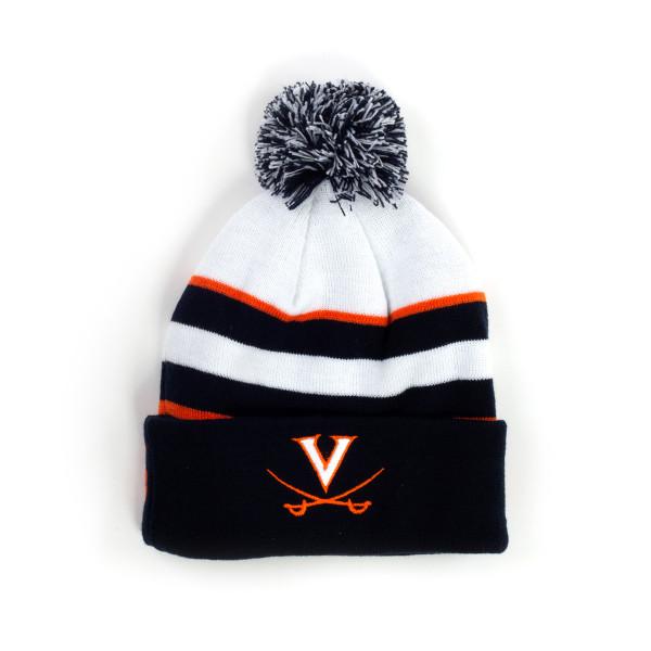 db1930c9d90b75 ... new zealand university of virginia cavaliers cuffed knit three tone pom  beanie 9325b e7e53