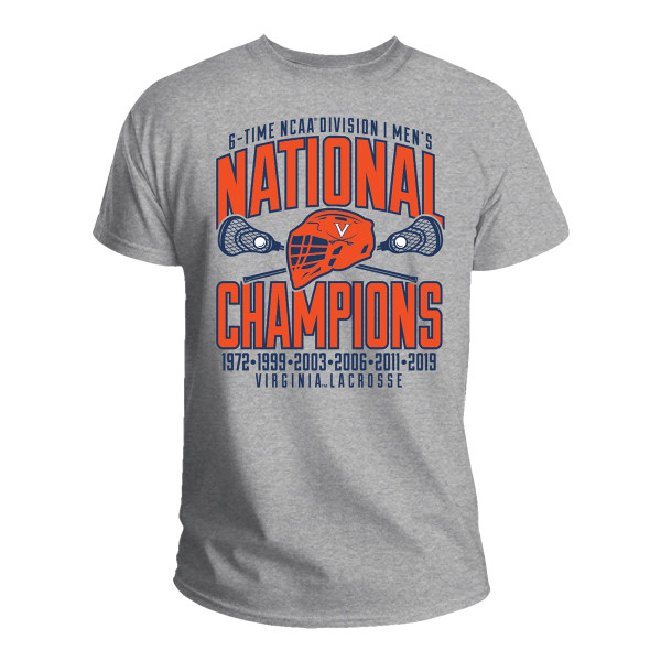 9a7ecdbff 2019 Lacrosse National Champs Grey 6-time Champions T-shirt