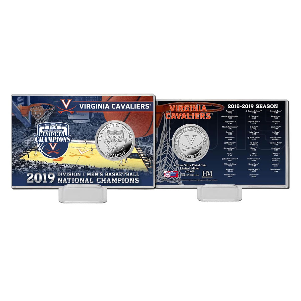 University of Virginia 2019 Champions Silver Coin Card