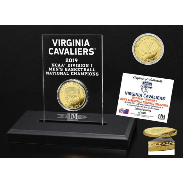 University of Virginia 2019 Champions Bronze Coin Etched Acrylic