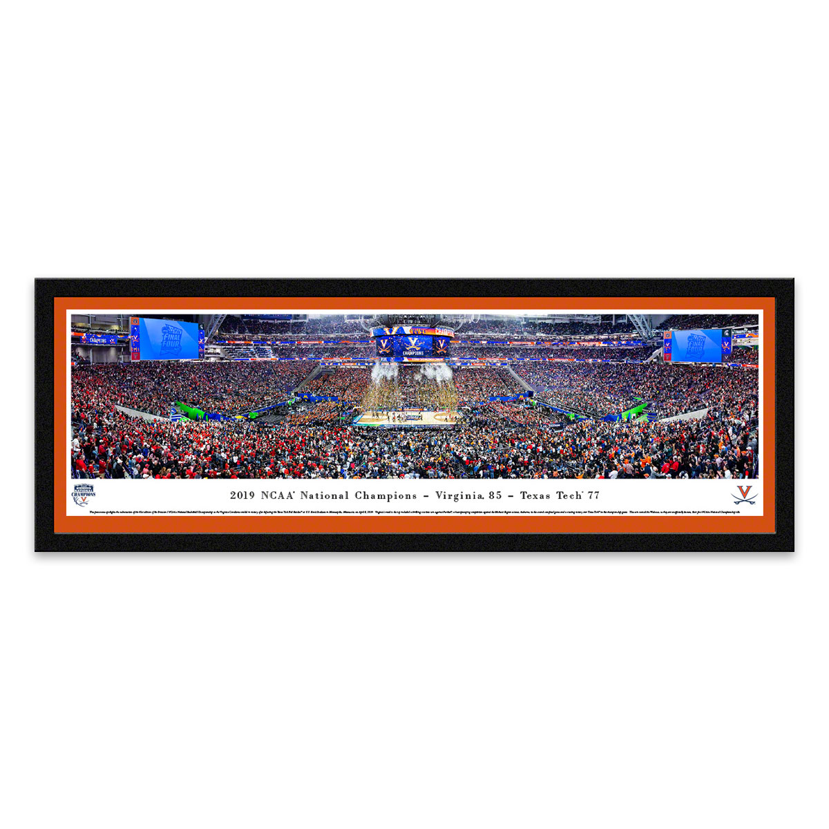2019 UVA NCAA Champions Framed Panoramic Image With Orange Matting