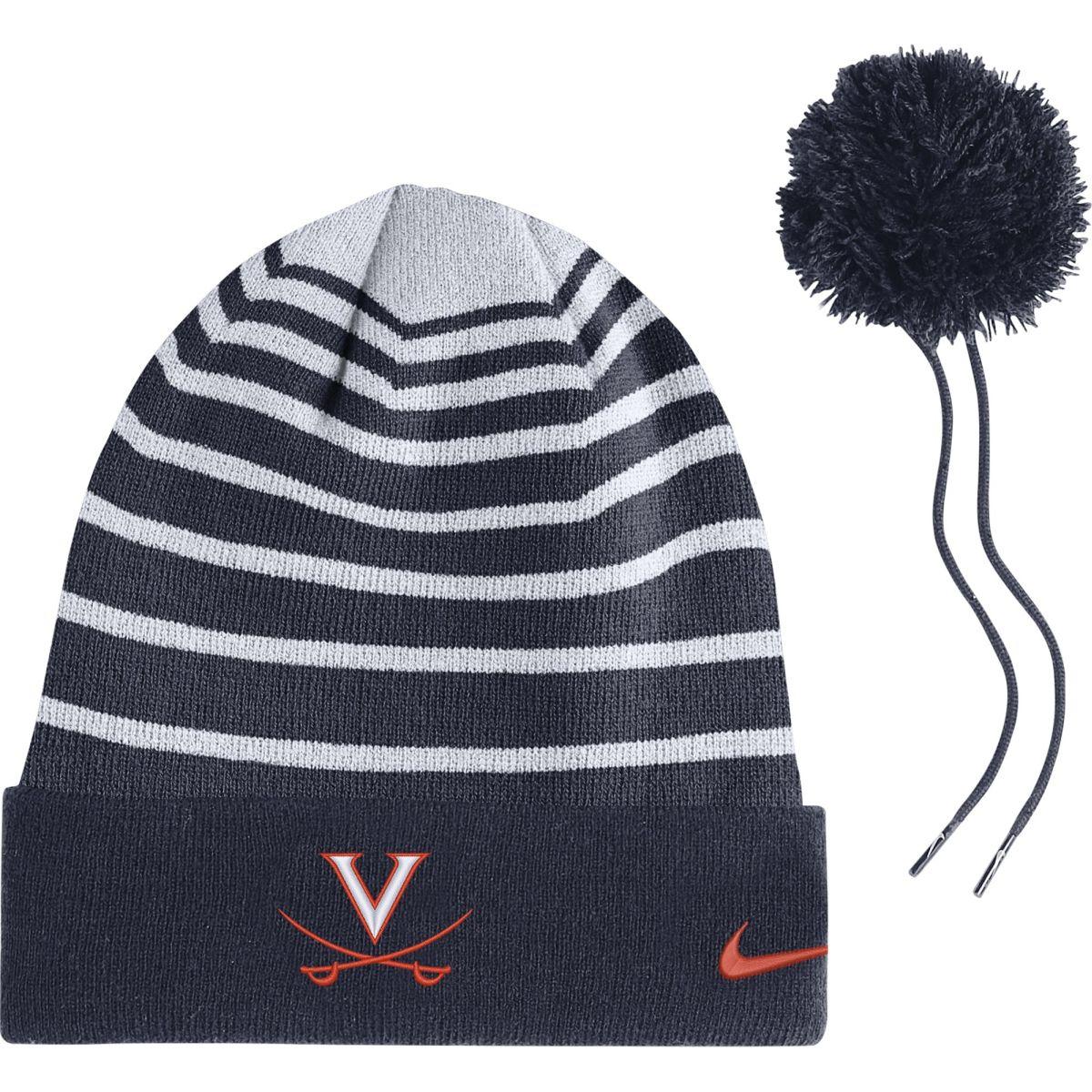 University of Virginia Striped Detachable Pom Beanie