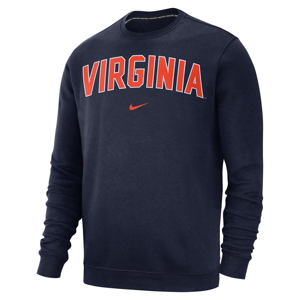 University of Virginia Nike Fleece Crew Neck Pullover Sweatshirt