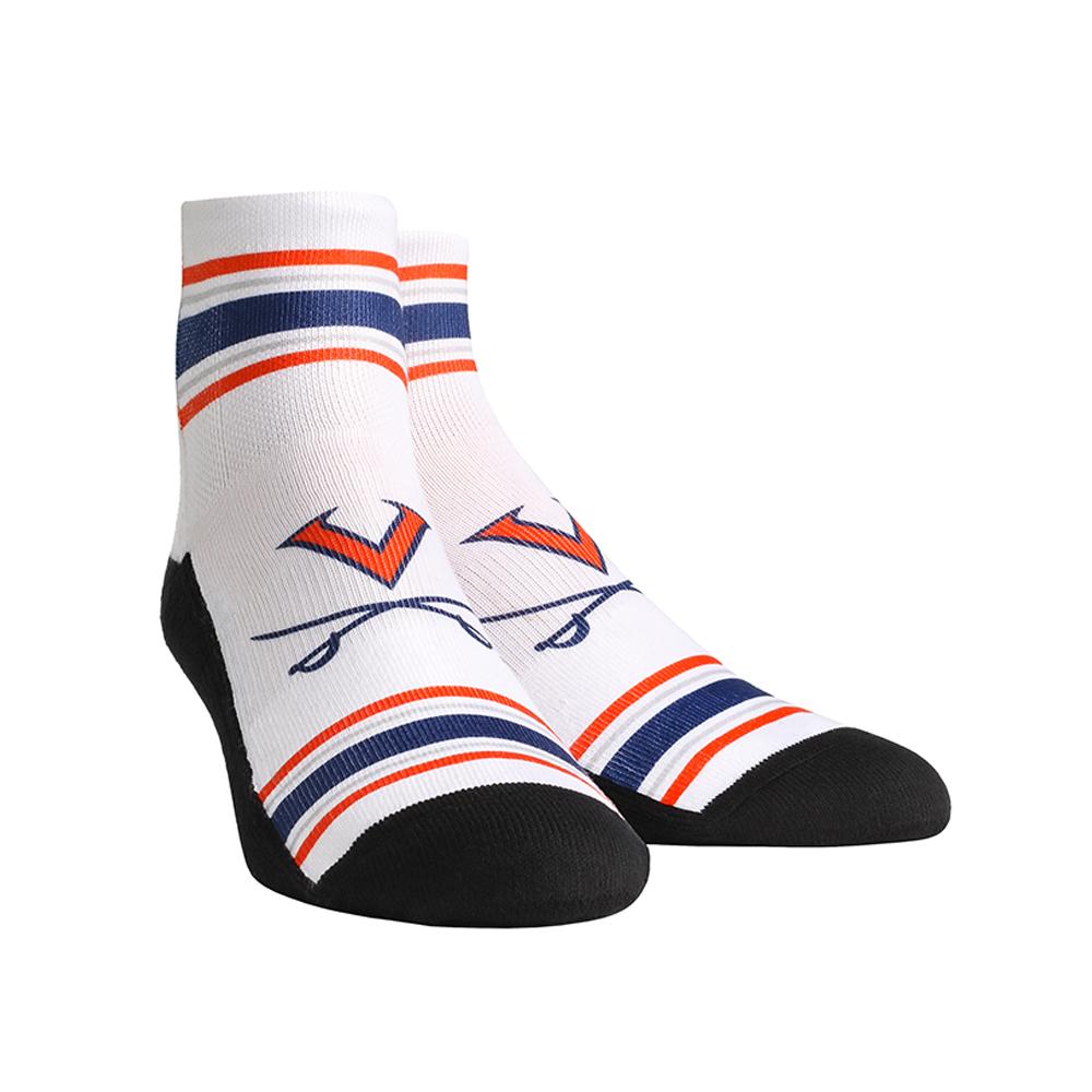 University of Virginia Cavaliers Classic Stripes White Adult Quarter Socks