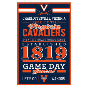 "University of Virginia Cavaliers Home Wood Sign - 11"" x 17"""