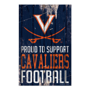 "University of Virginia Cavaliers Proud Support Plank Sign - 11"" x 17"""