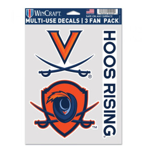 "Virginia Cavaliers Multi Use Fan Decals - 3 Pack 5.5"" X 7.75"""