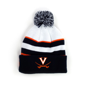 University of Virginia Cavaliers Cuffed Knit Three-Tone Pom Beanie