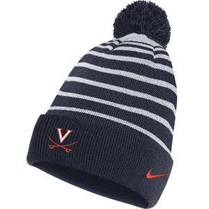 University of Virginia Striped Detachable Pom Beanie