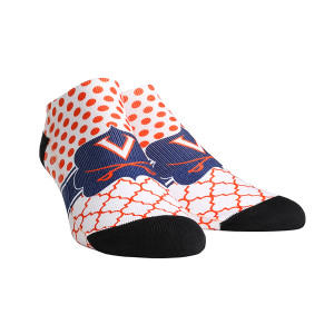 University of Virginia Cavaliers Quatrefoil Dots Adult Womans Low Cut Socks