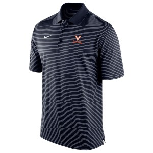 UVA Navy Stadium Stripe Polo with V-Sabre Logo