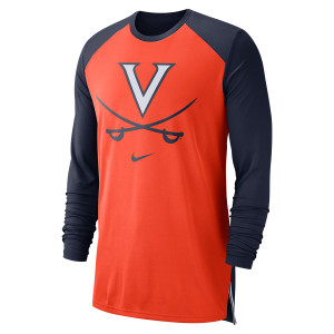 University of Virginia 2018 Nike Orange Basketball Dri-Fit Long Sleeve T-shirt