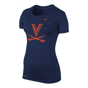 UVA Navy Women's Crew Neck Tee with V-Sabre logo