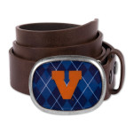 UVA Leather Argyle Belt Buckle With Belt.