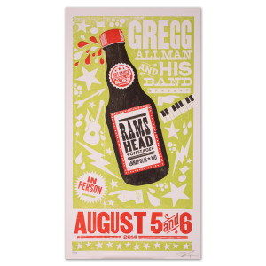 Gregg Allman and His Band Limited Edition Ram's Head August 5 and 6 Poster