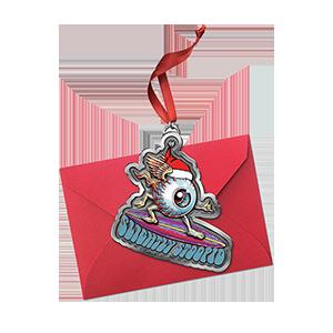 Surfing Eye Pewter Ornament