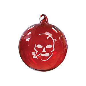 Smoking Skull Red Glass Ornament