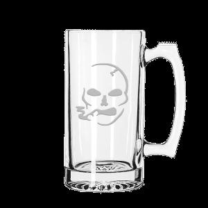 Smoking Skull Glass Mug