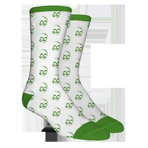 Skulls All Over Green/White Socks