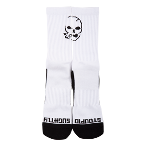 Smoking Skull Socks - White/Black