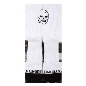 Smoking Skull Socks - White/Black