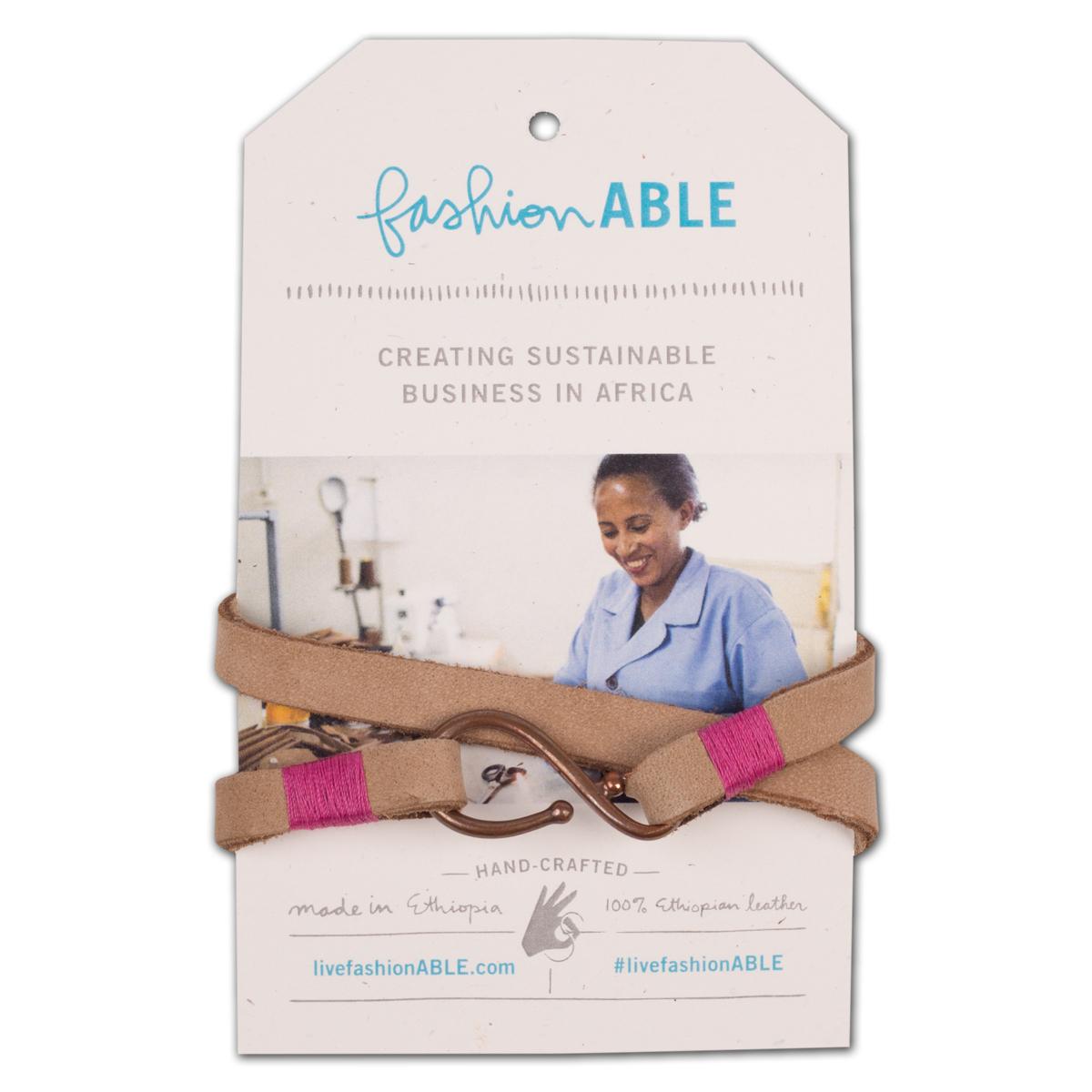 Teshome Wrap Bracelet - Pink