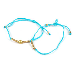Light Blue + Gold Braided Bracelet Set