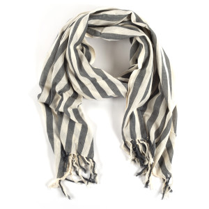 Aster Natural/Charcoal stripe scarf