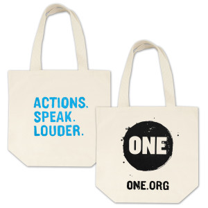 ONE Actions. Speak. Louder. Tote Bag