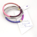 Patterned Sweetgrass and Tin Bangle Set
