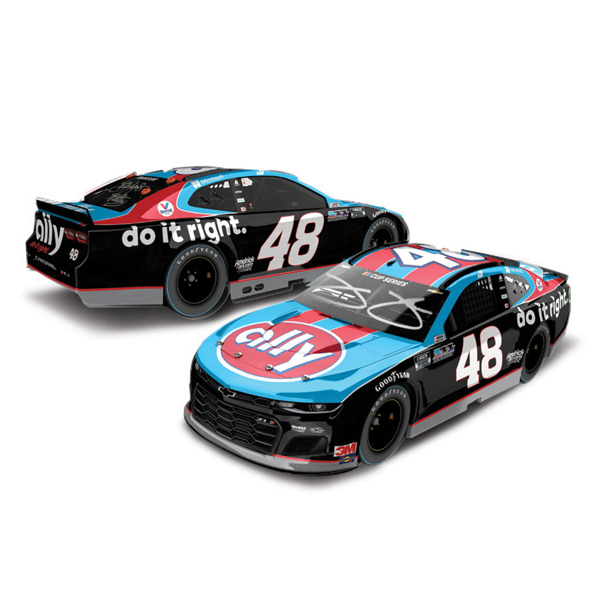 Autographed Jimmie Johnson #48 2019 Ally Darlington NASCAR 1:24 ELITE - Die Cast