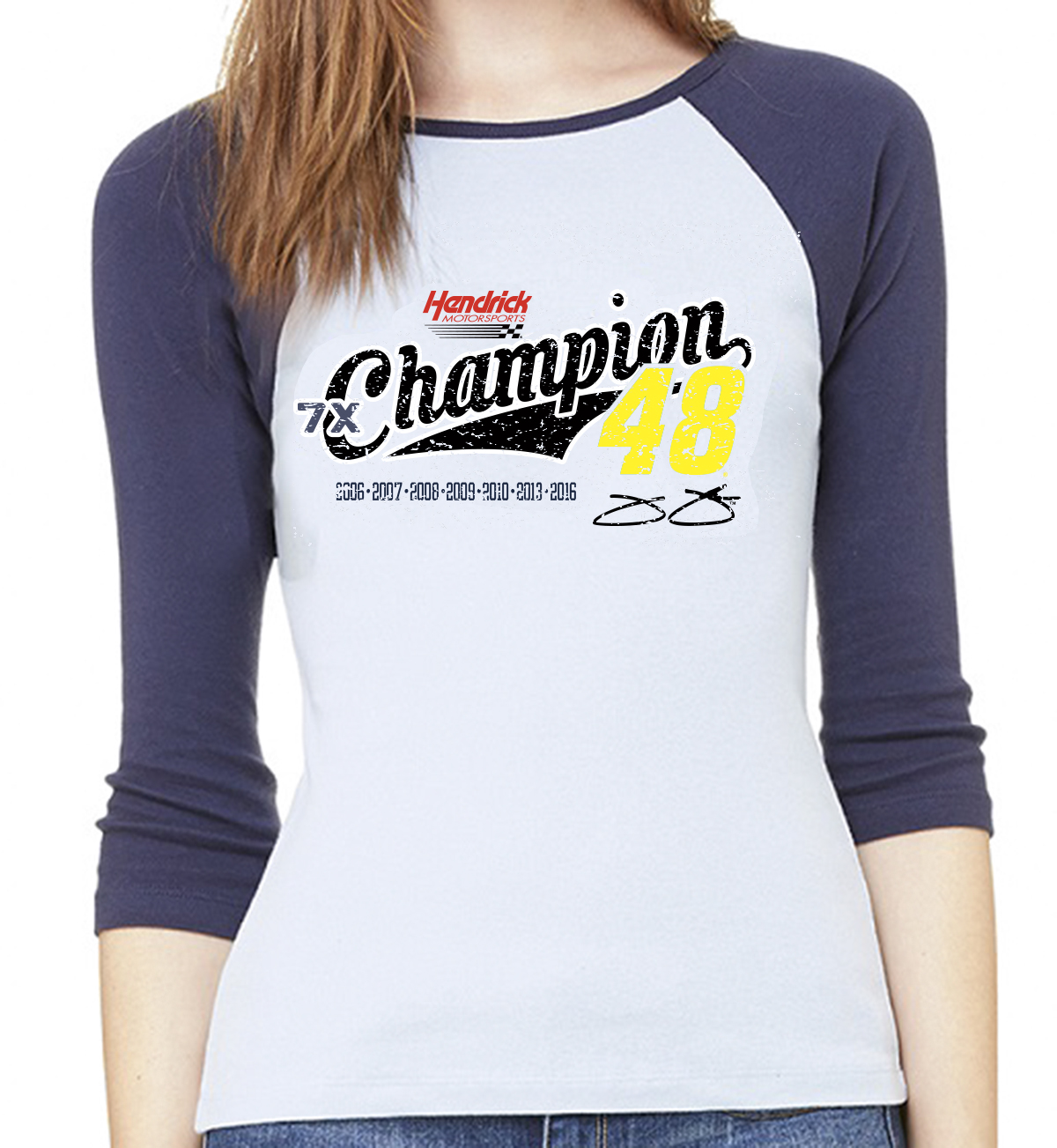 Jimmie Johnson 7X Champion Ladies 3/4 raglan T-shirt