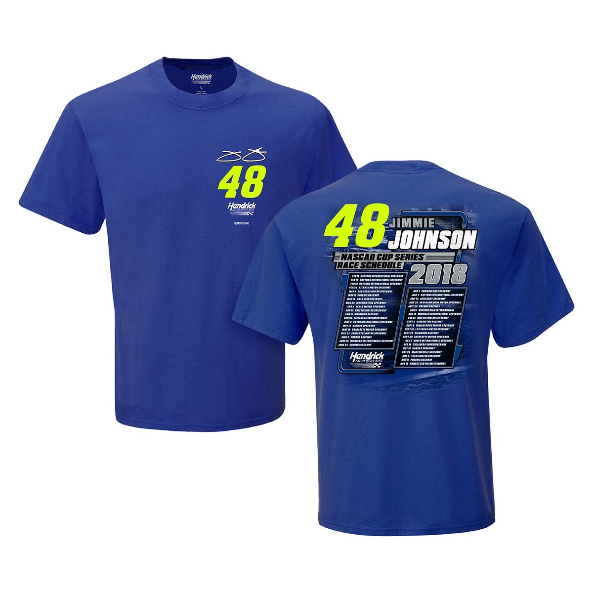 Jimmie Johnson #48 2018 NASCAR Schedule T-shirt