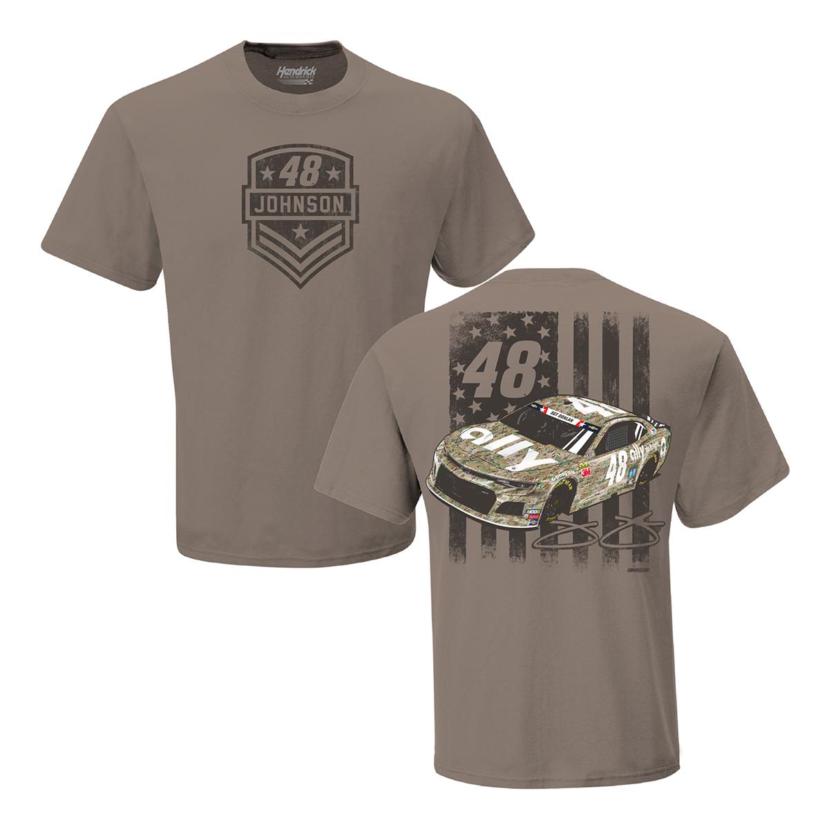 Jimmie Johnson 2019 NASCAR #48 Brown Patriotic T-shirt