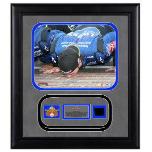 Jimmie Johnson '08 Brickyard Framed 8x10 Photo w/ IMS pin, Indy Motor Speedway Brick and Authentic Race-Used Tire