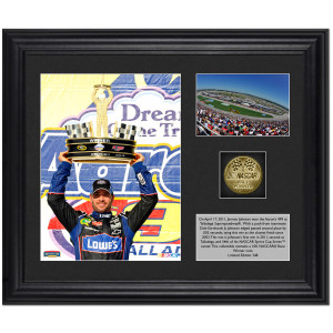 Jimmie Johnson #48 2011 Talladega Winner Framed Photograph with Plate and Gold Coin