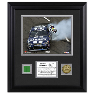 Jimmie Johnson 2013 Martinsville Winner Framed 8x10 Photo with Gold Coin & Race-Used Flag-L.E. of 148