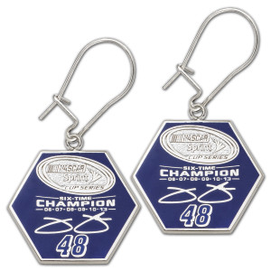 Jimmie Johnson #48 2013 Sprint Cup Champion Enameled Dangle Earrings