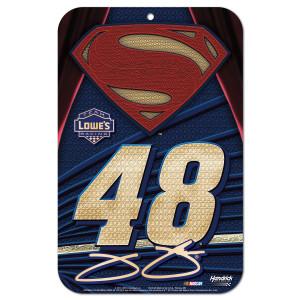 "Jimmie Johnson #48 Superman 11"" x 17"" Styrene sign"