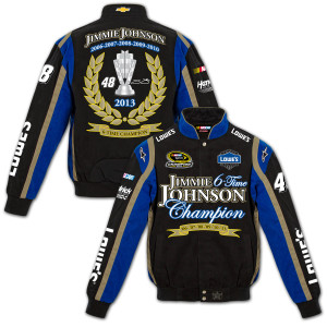 Jimmie Johnson #48 2013 Sprint Cup Champion Twill Jacket Black/Royal Blue