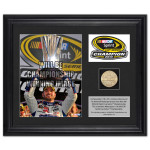 Jimmie Johnson #48 2013 Sprint Cup Champion Framed 2-Photo Collage w/ Gold-Plated Coin, Descriptive Plate - L.E. of 348