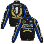 Jimmie Johnson #48 2013 Sprint Cup Champion Twill Jacket Black/Royal Blue