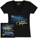 Jimmie Johnson #48 2013 Sprint Cup Champion Ladies V-Neck T-shirt