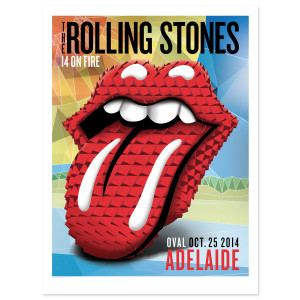 Rolling Stones Adelaide Tongue & Lips Litho