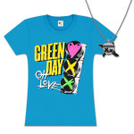 Green Day Red Light Love Girlie T-Shirt and Skull X Necklace Bundle