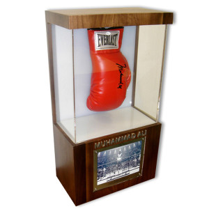 Ali Autographs- Olympic Champion Wooden Shadow Box with Autographed Boxing Glove