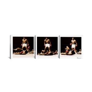 """Muhammad Ali - Ali Vs. Sonny Liston White Canvas 3 pc. Print 48"""" x 16"""""""