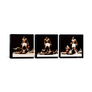 "Muhammad Ali - Ali Vs. Sonny Liston Black Canvas 3 pc. Print 48"" x 16"""
